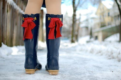Navy Red Bow Wellies