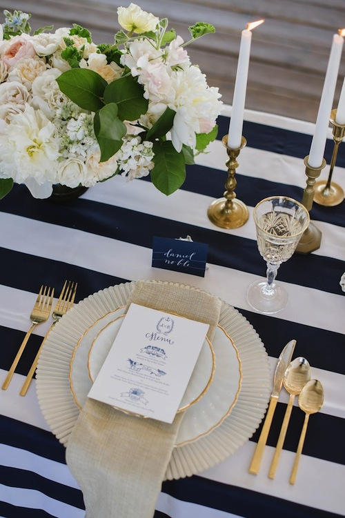 nautical gold place setting