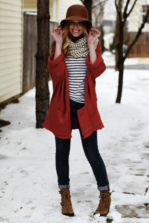 Red Coat + Stripes