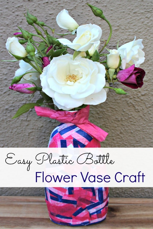 How to make a recyclable plastic bottle flower vase for Plastic bottle vase craft