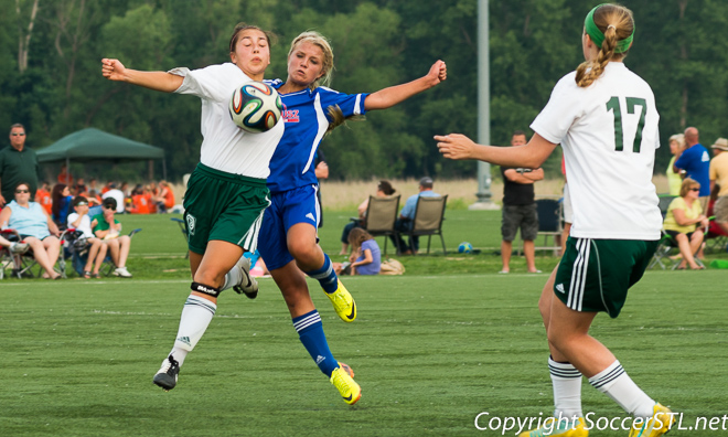 2014-06-06 JB Marine Bozesky win in OT vs Lou Fusz Elam in U14G quarterfinals at Missouri State Cup soccer tourney