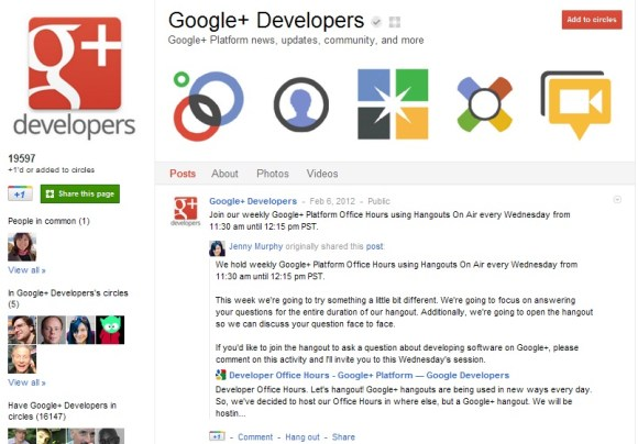 Google Opens Google+ Developers Page with Hangouts - Google+ Developers, Google+ Developers page, Google+ Developers group, Google+ API