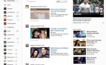The new Youtube design, which is currently available to only a few testing participants, resembles the Google Plus layout. (Image: Engadget / June 14, 2012)
