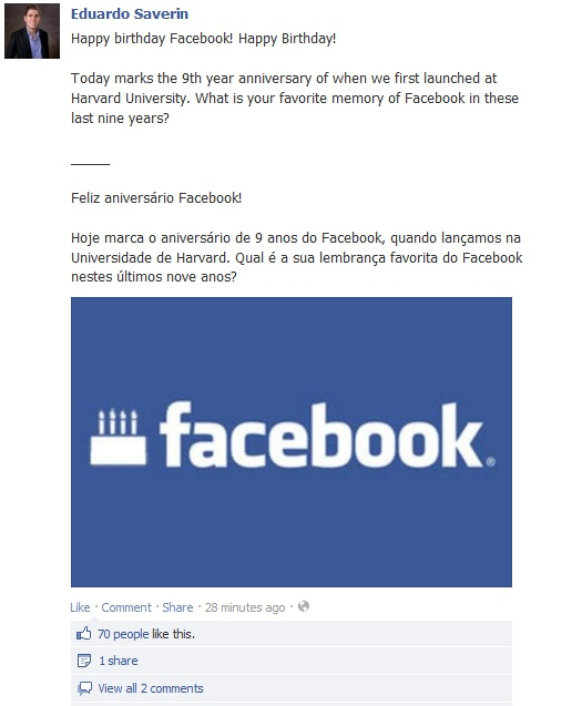 Facebook, Eduardo Saverin, Facebook birthday