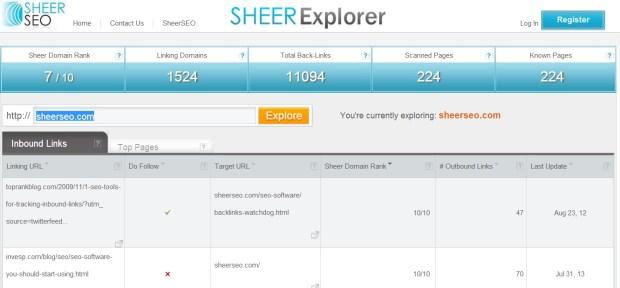 sheerexplorer inbound links tab