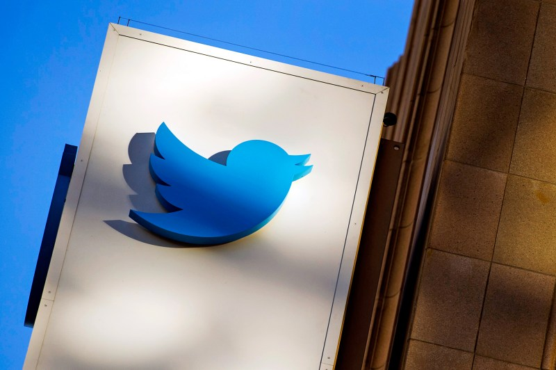 The Twitter Inc. logo is displayed on the facade of the company's headquarters in San Francisco, California, U.S., on Thursday, Nov. 7, 2013. Twitter Inc. surged 85 percent in its trading debut, as investors paid a premium for its promises of fast growth. Photographer: David Paul Morris/Bloomberg via Getty Images