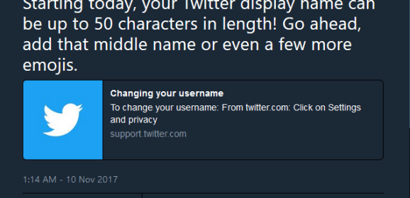 Twitter increases profile display name to 50 characters