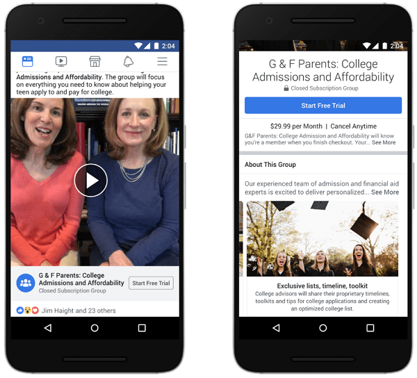 facebook groups expanded mentorships subscriptions