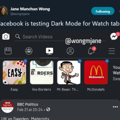Facebook is reportedly testing Dark Mode for Watch tab