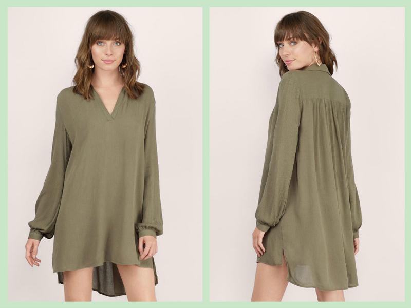 olive-golden-coast-deep-v-shirt-dress1-2