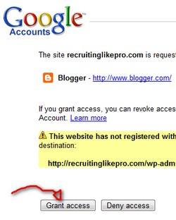 Click on Grant Access to let WordPress pull your blogspot info