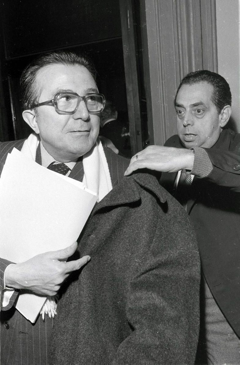 Roma, 17/02/1977. Giulio Andreotti al termine della direzione della DC