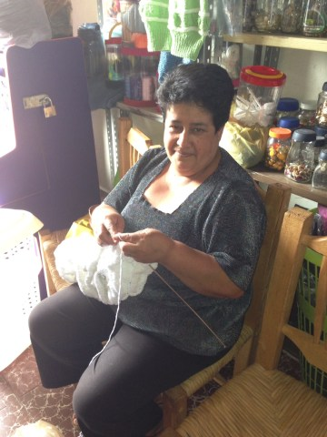 This is Rosa, one of the first that helped me start my project. She actually made the very first ever piece, crocheting while I was still cutting the thread. It was amazing to be there while the very first piece was made!