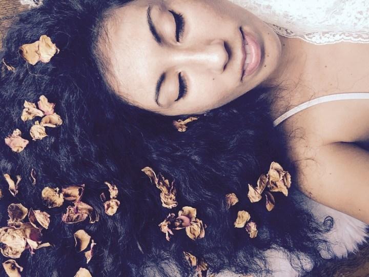 rose petals in hair