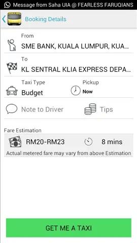 tempahan aku buat daripada Jalan Sultan Ismail ke KL Sentral