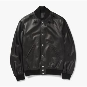 Givenchy Leather-Embroidered Star Baseball Jacket