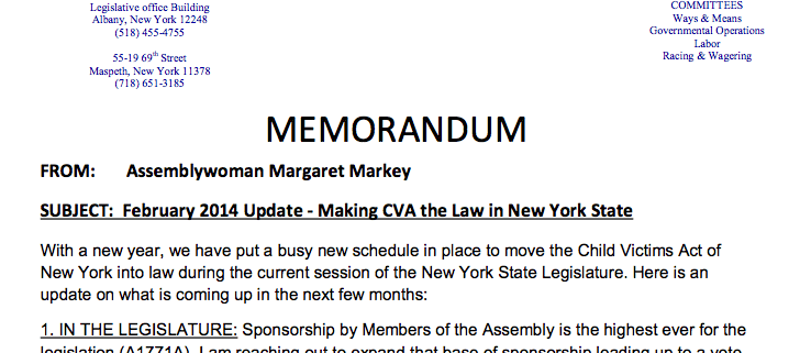 Markey Child Victims Act Feb 2014 New York