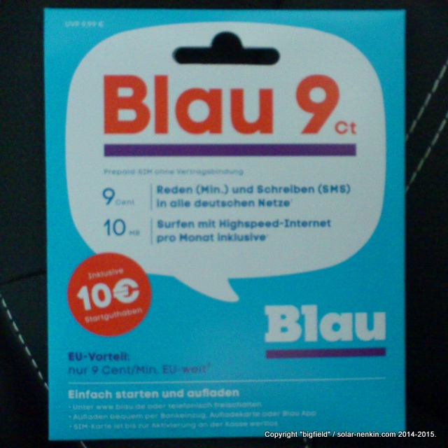 「Blau」のプリペイドSIMカード