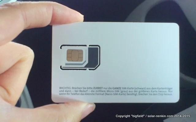マイクロ、ミニ、標準のいずれのSIMカードスロットでも使える「Blau」のプリペイドSIMカード