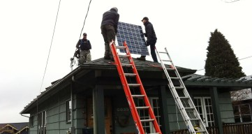 installation of solar panels on roof