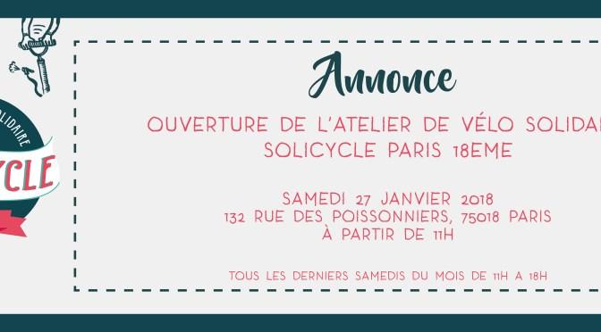 Ouverture de l'atelier de vélo solidaire SoliCycle Paris 18ème