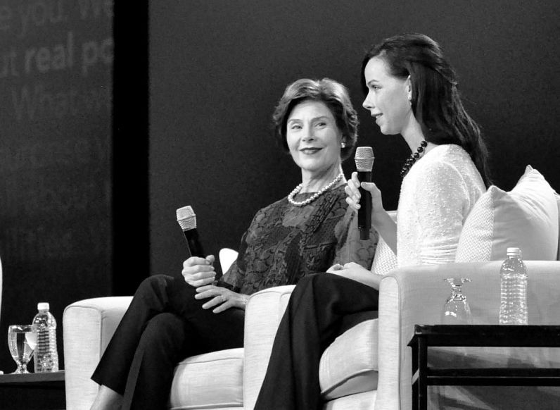 Former First Lady Bush and Daughter Barbara Pierce Bush Speak During AARP's Life@50+ in Boston, May 9, 2014