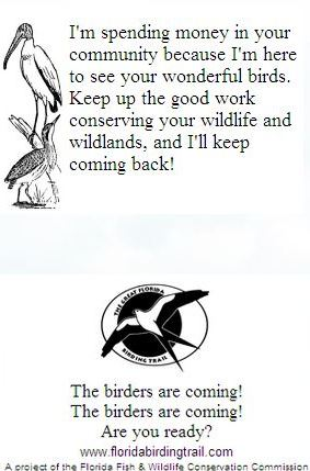 Birder Calling Cards Designed by the Florida Fish & Wildlife Conservation Commission to Remind Businesses of the Economic Impact of Birding