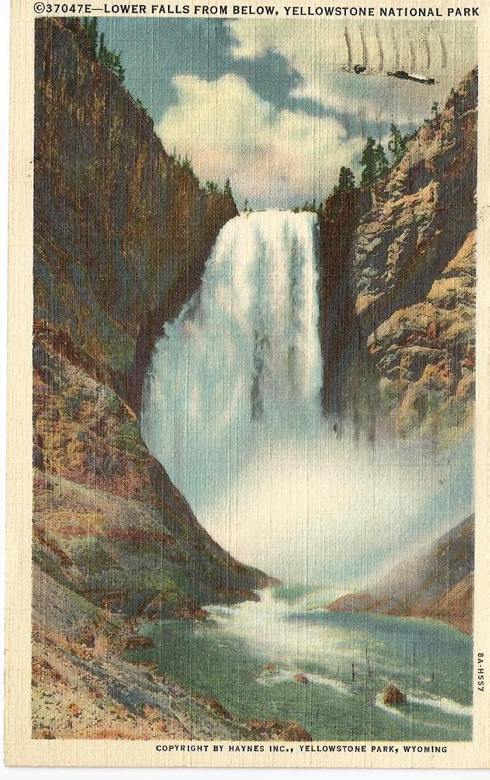 Postcard of Lower Falls in Yellowstone National Park, 1947
