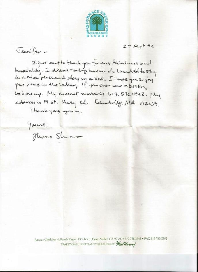 Letter from a Hotel Guest - Just Being Nice or Something Else? 1996