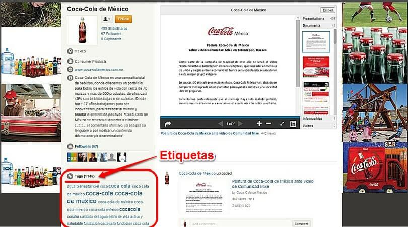 Ventajas Slideshare Coca Cola México tags