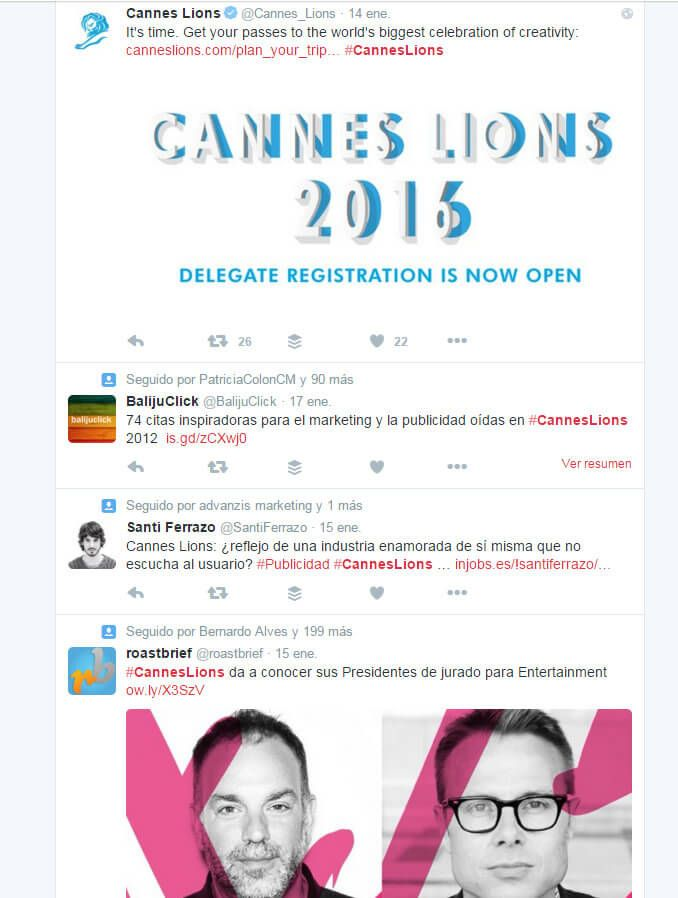Herramientas de Marketing hashtag #CannesLions