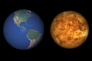 Venus and Earth