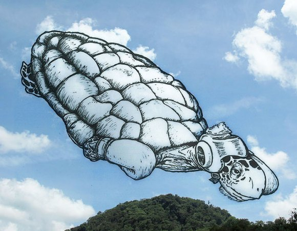 Desenho em nuvens - tartaruga (1)