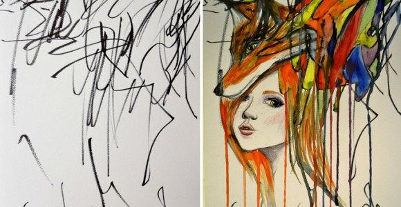 """Artista transforma rabiscos de sua filhinha de 2 anos em fabulosas pinturas """"expressionistas"""""""