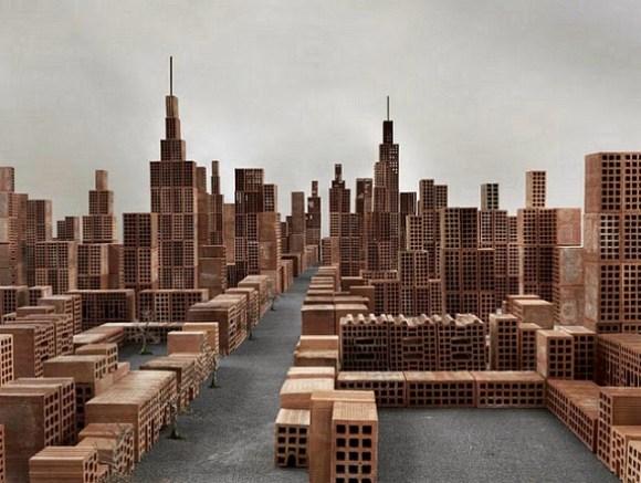 Maquete de cidade com tijolos 1