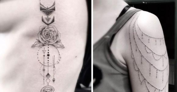 Traço fino e formas geométricas fizeram desse tatuador um imenso sucesso