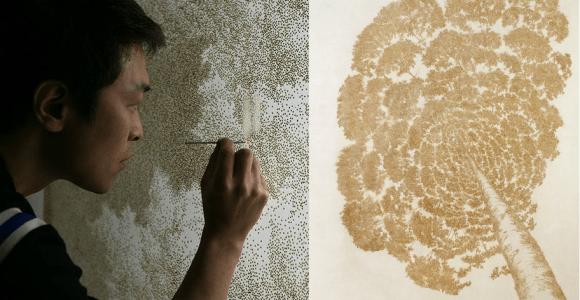 Nada de pincel, ele produz imagens furando o papel com um incenso aceso
