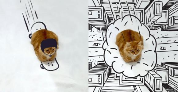 Esse gato foi colocado nas mais inusitadas situações por meio da ilustração