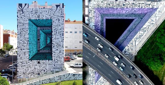 Ilusão de óptica: grafite em 3D abre imensos portais para outras dimensões