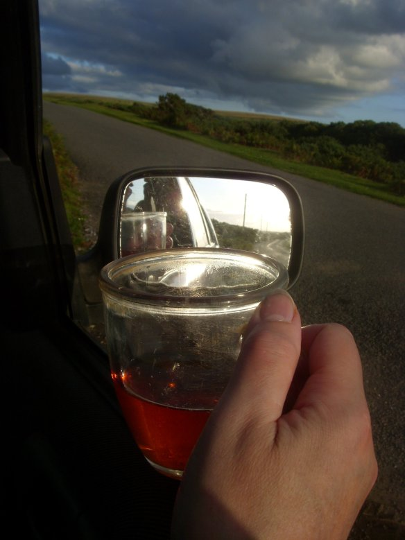 then finally, from the comfort of our car seats - weenjoyed the remains of our thermos - and the day; watching the day pull-inbesidethe high road to and from Burrator.