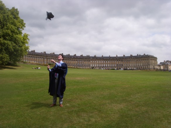 Graduation day. Bath Royal Crescent.