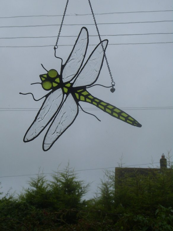 A larger than life 'Dragonfly' that hangs in ' his last window on the World. I made it for him.