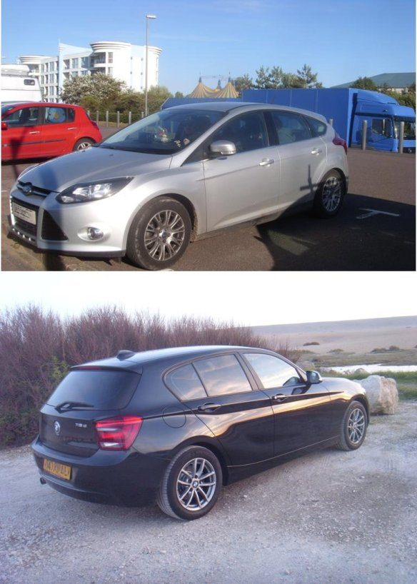 Ford focus Titanium and BMW 1 Series.