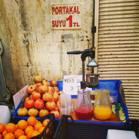 Fresh fruit stalls on every street corner of Istanbul
