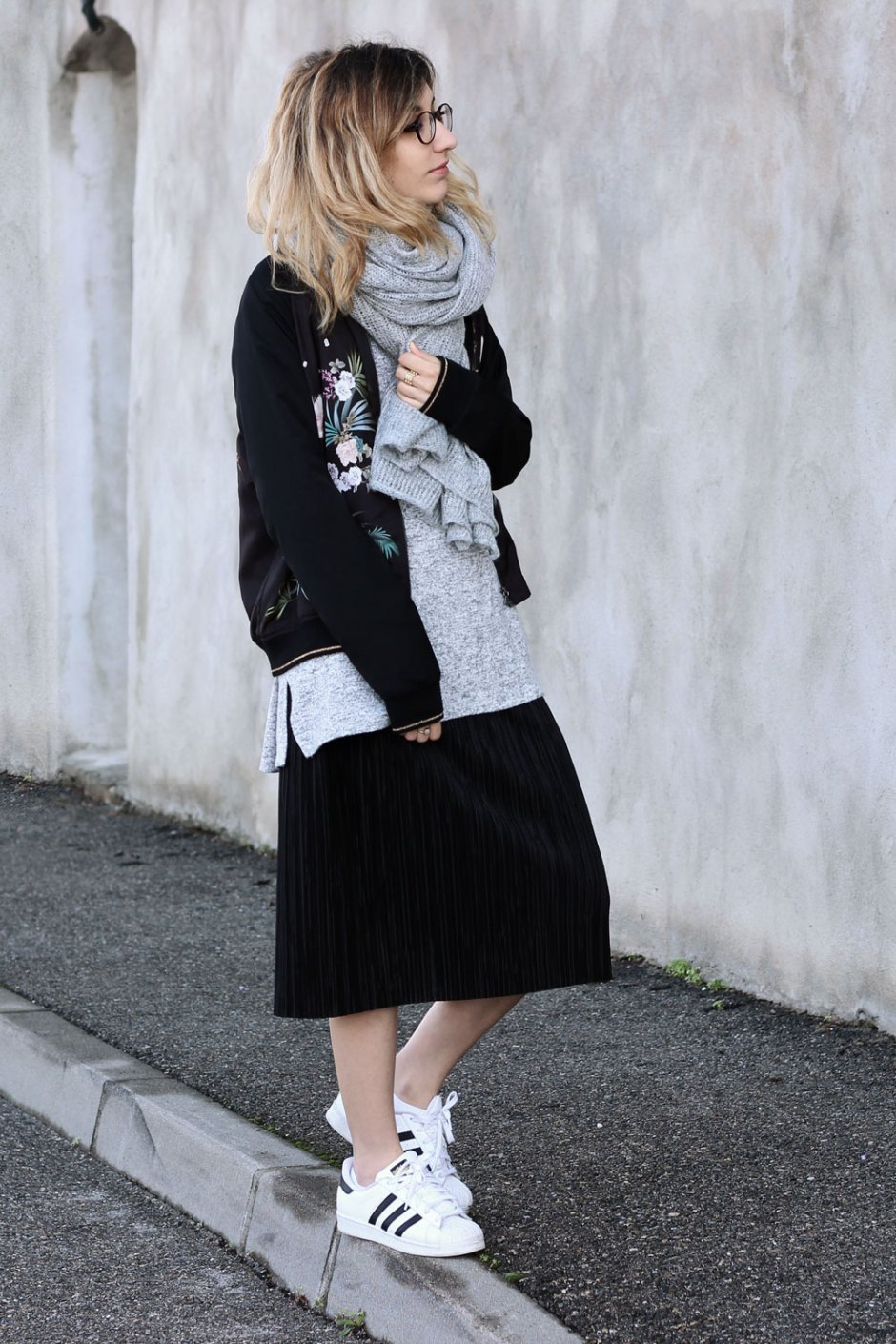 layering-look-blog-mode-jupe-plissee-pull-oversize