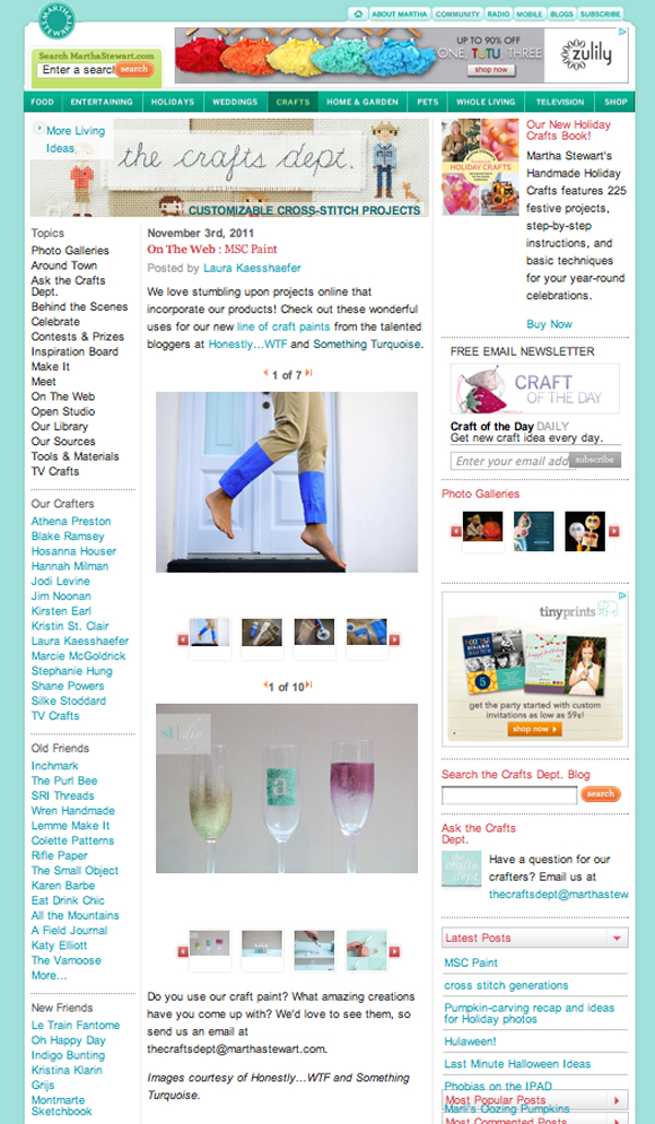 SomethingTurquoise featured on Martha Stewart the Craft's dept blog