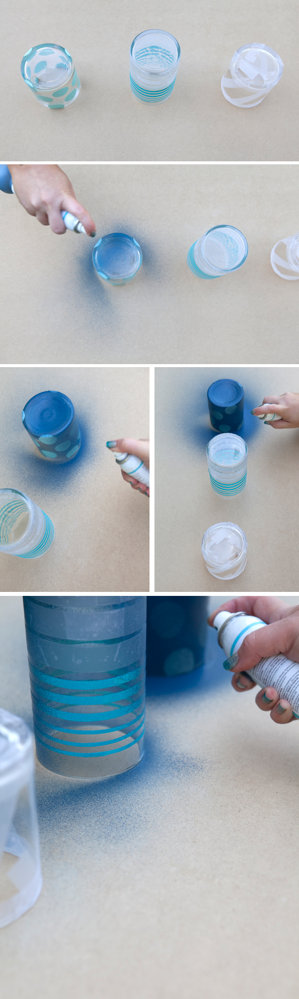 DIY painted and frosted jars