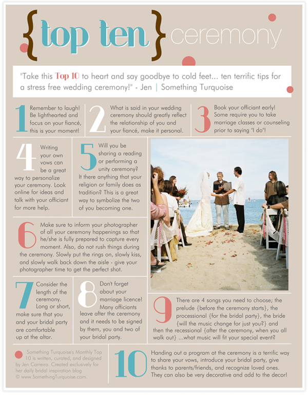 top 10 tips for your wedding ceremony