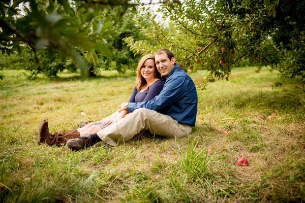 apple picking fall engagement shoot