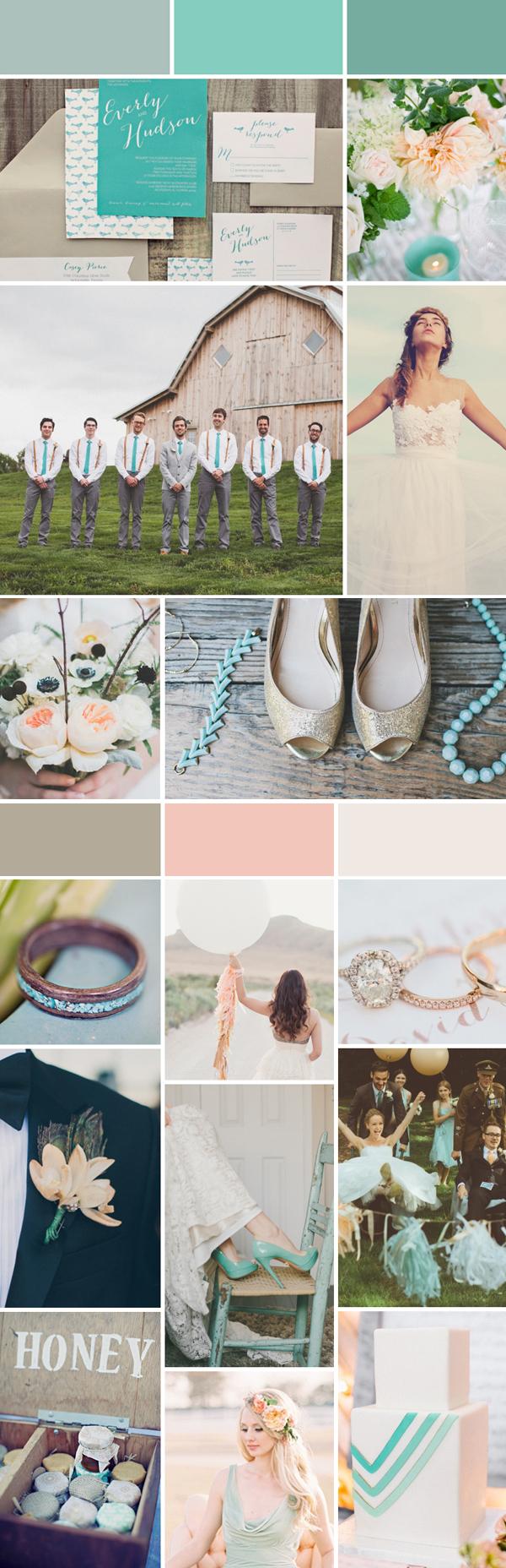 SomethingTurquoise_CarlyRaeWeddings_Turquoise_Peach_inspiration_board